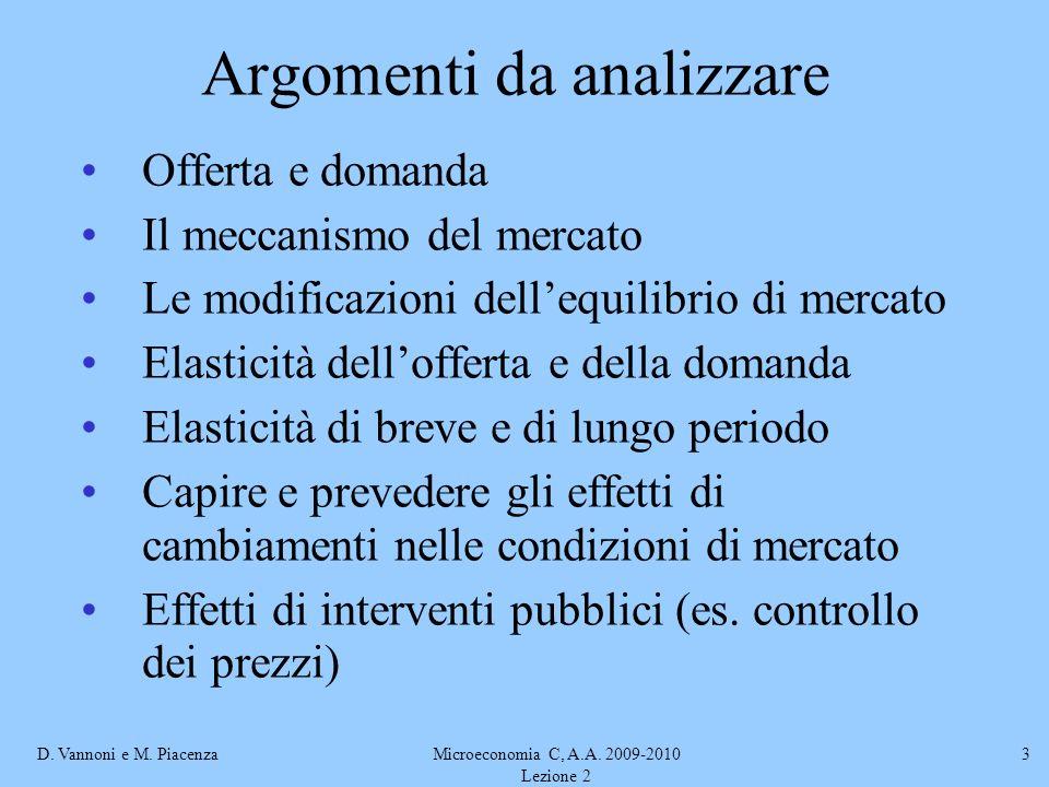 D. Vannoni e M. PiacenzaMicroeconomia C, A.A. 2009-2010 Lezione 2 3 Argomenti da analizzare Offerta e domanda Il meccanismo del mercato Le modificazio