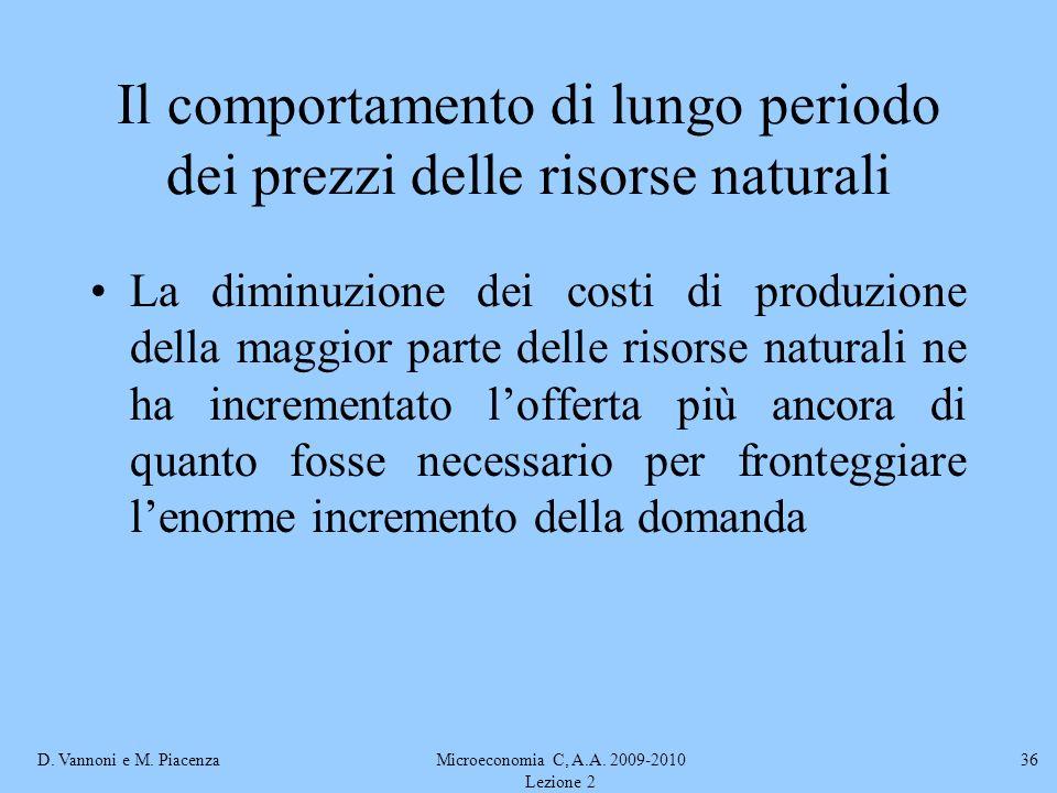 D. Vannoni e M. PiacenzaMicroeconomia C, A.A. 2009-2010 Lezione 2 36 Il comportamento di lungo periodo dei prezzi delle risorse naturali La diminuzion