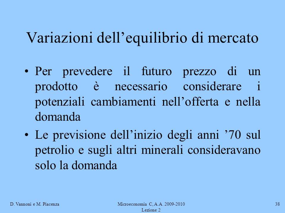 D. Vannoni e M. PiacenzaMicroeconomia C, A.A. 2009-2010 Lezione 2 38 Variazioni dellequilibrio di mercato Per prevedere il futuro prezzo di un prodott