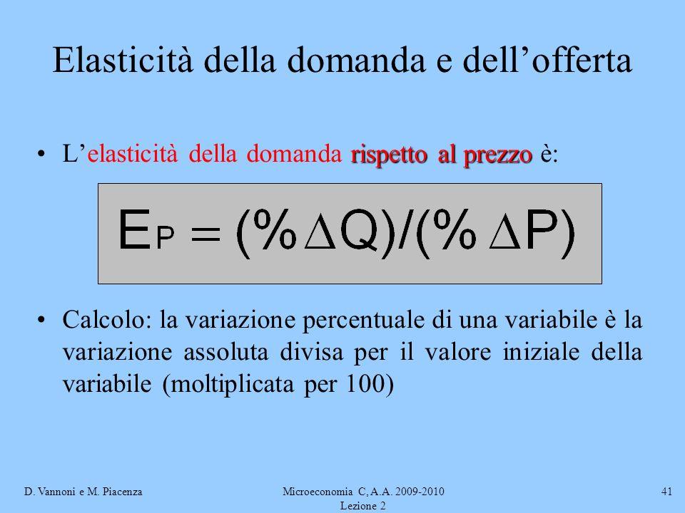 D. Vannoni e M. PiacenzaMicroeconomia C, A.A. 2009-2010 Lezione 2 41 Elasticità della domanda e dellofferta rispetto al prezzoLelasticità della domand