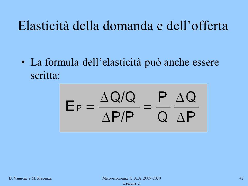 D. Vannoni e M. PiacenzaMicroeconomia C, A.A. 2009-2010 Lezione 2 42 Elasticità della domanda e dellofferta La formula dellelasticità può anche essere
