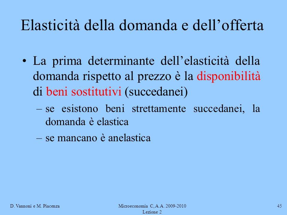 D. Vannoni e M. PiacenzaMicroeconomia C, A.A. 2009-2010 Lezione 2 45 Elasticità della domanda e dellofferta La prima determinante dellelasticità della