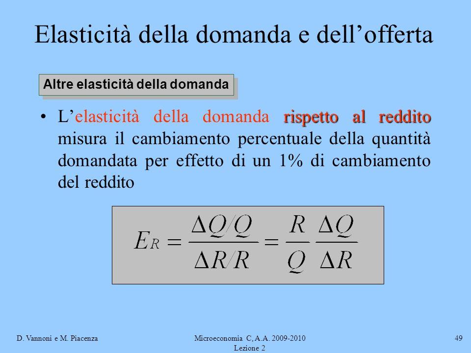 D. Vannoni e M. PiacenzaMicroeconomia C, A.A. 2009-2010 Lezione 2 49 Elasticità della domanda e dellofferta rispetto al redditoLelasticità della doman