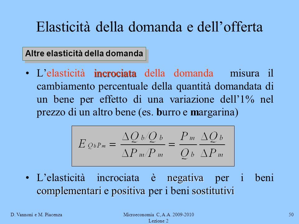 D. Vannoni e M. PiacenzaMicroeconomia C, A.A. 2009-2010 Lezione 2 50 Elasticità della domanda e dellofferta incrociataLelasticità incrociata della dom