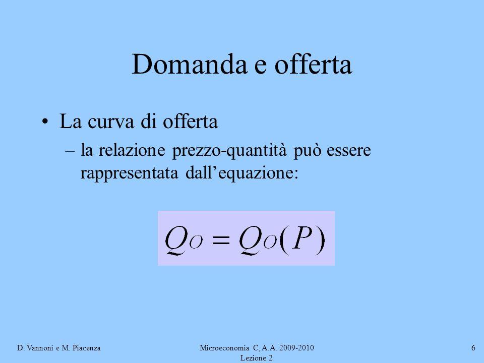 D. Vannoni e M. PiacenzaMicroeconomia C, A.A. 2009-2010 Lezione 2 6 Domanda e offerta La curva di offerta –la relazione prezzo-quantità può essere rap