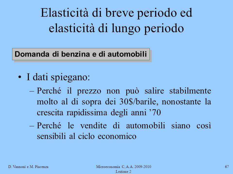 D. Vannoni e M. PiacenzaMicroeconomia C, A.A. 2009-2010 Lezione 2 67 Elasticità di breve periodo ed elasticità di lungo periodo I dati spiegano: –Perc