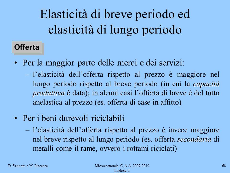 D. Vannoni e M. PiacenzaMicroeconomia C, A.A. 2009-2010 Lezione 2 68 Elasticità di breve periodo ed elasticità di lungo periodo Per la maggior parte d