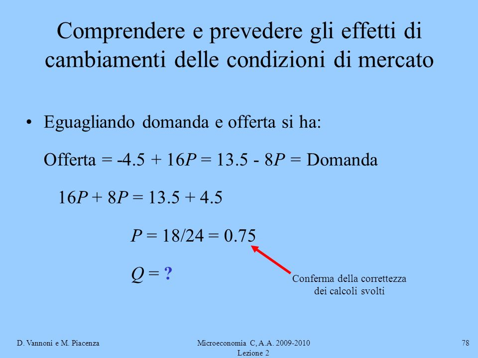 D. Vannoni e M. PiacenzaMicroeconomia C, A.A. 2009-2010 Lezione 2 78 Comprendere e prevedere gli effetti di cambiamenti delle condizioni di mercato Eg
