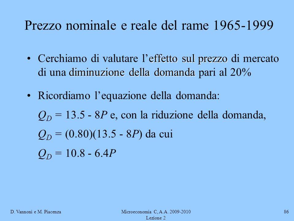 D. Vannoni e M. PiacenzaMicroeconomia C, A.A. 2009-2010 Lezione 2 86 Prezzo nominale e reale del rame 1965-1999 effetto sul prezzo diminuzione della d