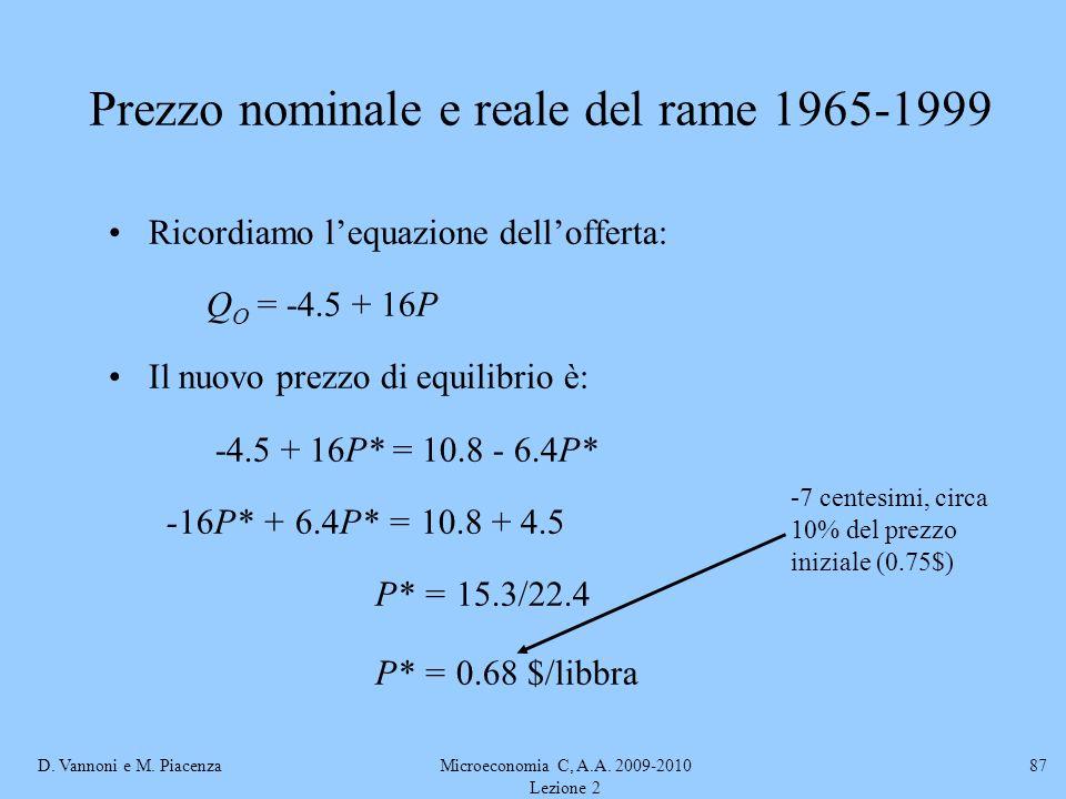 D. Vannoni e M. PiacenzaMicroeconomia C, A.A. 2009-2010 Lezione 2 87 Ricordiamo lequazione dellofferta: Q O = -4.5 + 16P Il nuovo prezzo di equilibrio