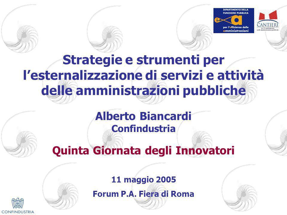 Strategie e strumenti per lesternalizzazione di servizi e attività delle amministrazioni pubbliche Alberto Biancardi Confindustria Quinta Giornata degli Innovatori 11 maggio 2005 Forum P.A.