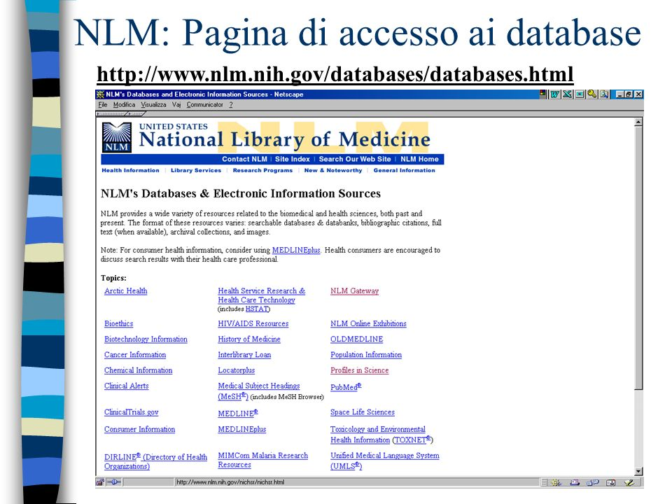 NLM: Pagina di accesso ai database http://www.nlm.nih.gov/databases/databases.html