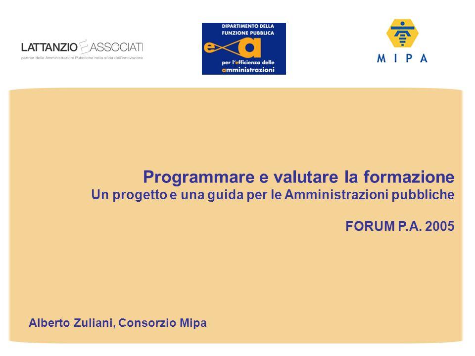 Alberto Zuliani, Consorzio Mipa Programmare e valutare la formazione Un progetto e una guida per le Amministrazioni pubbliche FORUM P.A. 2005