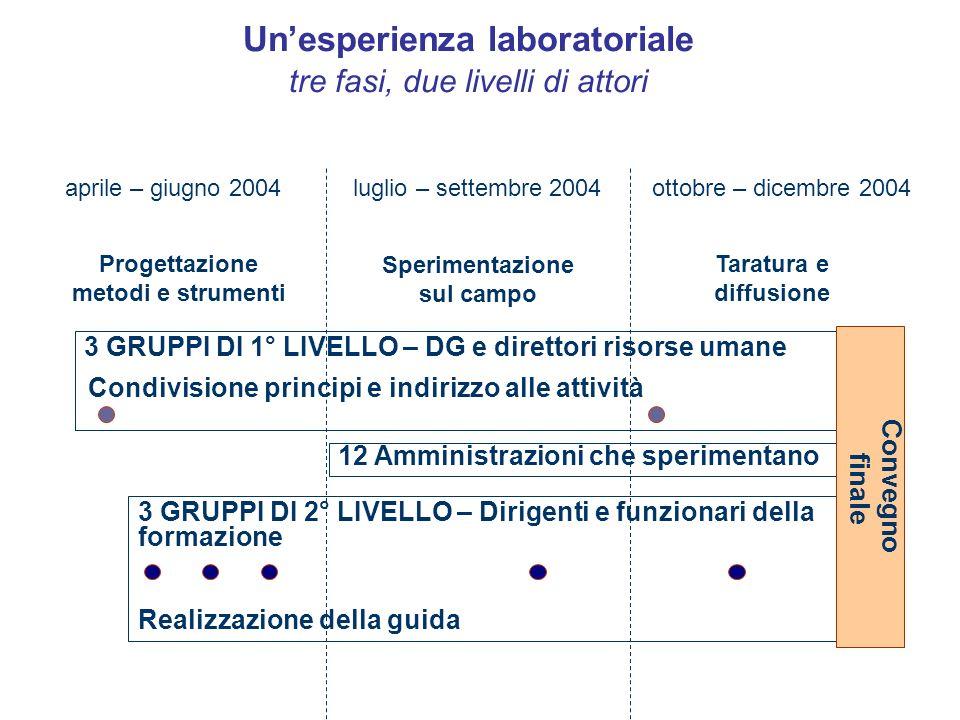 Unesperienza laboratoriale tre fasi, due livelli di attori ottobre – dicembre 2004luglio – settembre 2004aprile – giugno 2004 Progettazione metodi e s