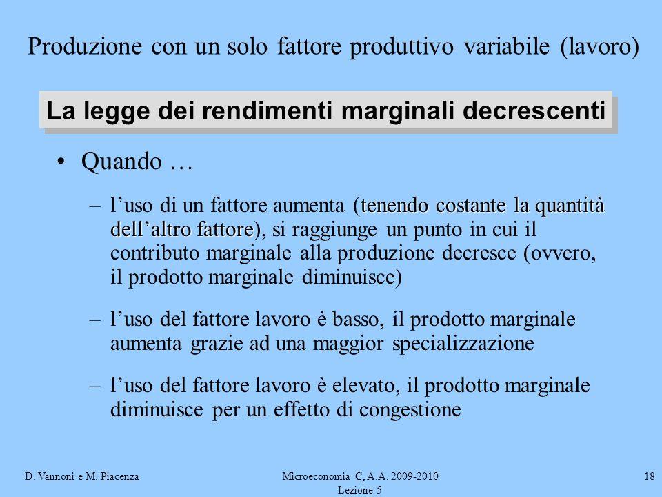 D. Vannoni e M. PiacenzaMicroeconomia C, A.A. 2009-2010 Lezione 5 18 Quando … tenendo costante la quantità dellaltro fattore –luso di un fattore aumen