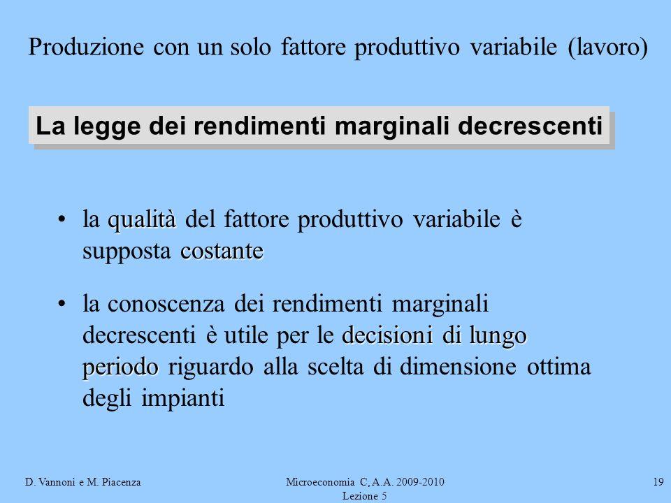 D. Vannoni e M. PiacenzaMicroeconomia C, A.A. 2009-2010 Lezione 5 19 qualità costantela qualità del fattore produttivo variabile è supposta costante d