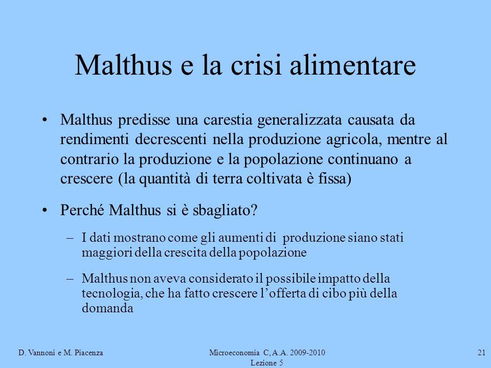 D. Vannoni e M. PiacenzaMicroeconomia C, A.A. 2009-2010 Lezione 5 21 Malthus e la crisi alimentare Malthus predisse una carestia generalizzata causata