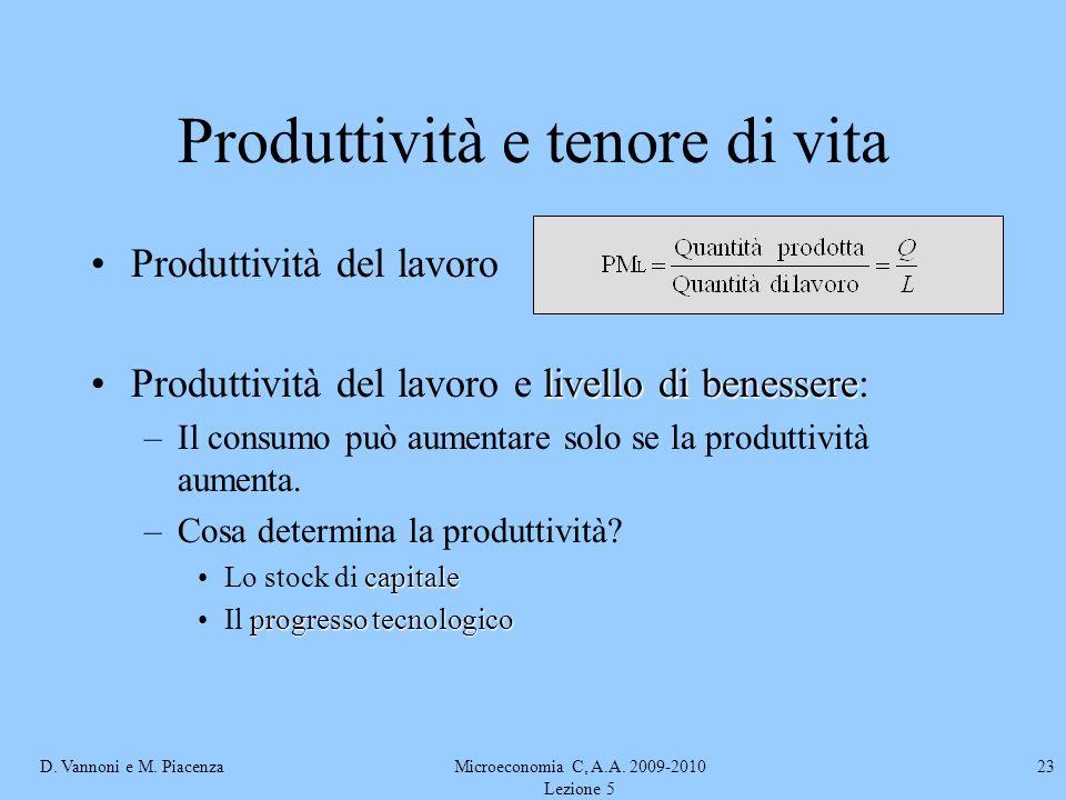 D. Vannoni e M. PiacenzaMicroeconomia C, A.A. 2009-2010 Lezione 5 23 Produttività e tenore di vita Produttività del lavoro livello di benessereProdutt