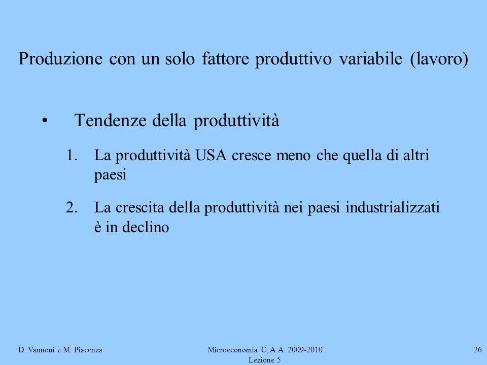 D. Vannoni e M. PiacenzaMicroeconomia C, A.A. 2009-2010 Lezione 5 26 Produzione con un solo fattore produttivo variabile (lavoro) Tendenze della produ