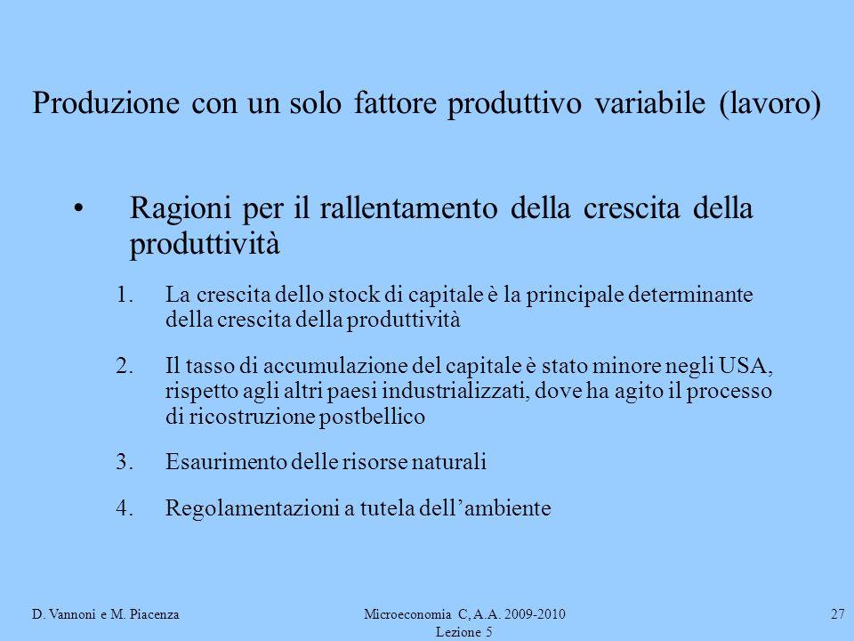 D. Vannoni e M. PiacenzaMicroeconomia C, A.A. 2009-2010 Lezione 5 27 Ragioni per il rallentamento della crescita della produttività 1.La crescita dell