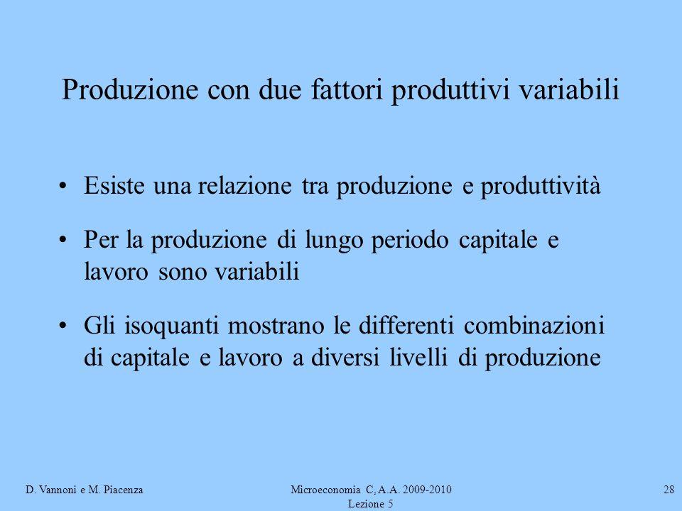 D. Vannoni e M. PiacenzaMicroeconomia C, A.A. 2009-2010 Lezione 5 28 Produzione con due fattori produttivi variabili Esiste una relazione tra produzio