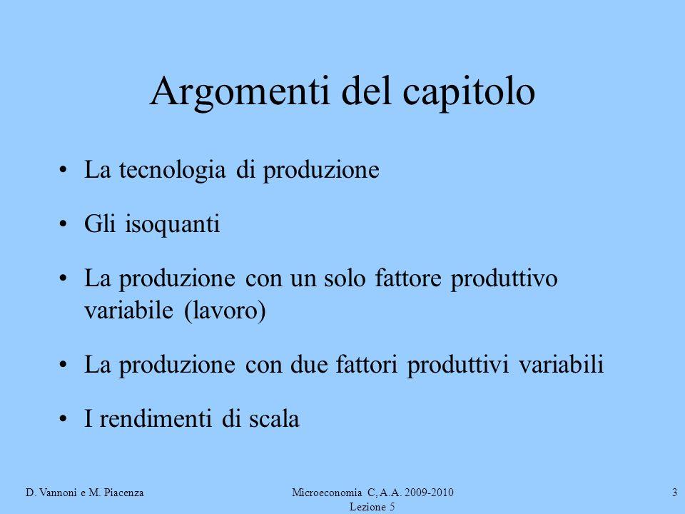 D. Vannoni e M. PiacenzaMicroeconomia C, A.A. 2009-2010 Lezione 5 3 Argomenti del capitolo La tecnologia di produzione Gli isoquanti La produzione con