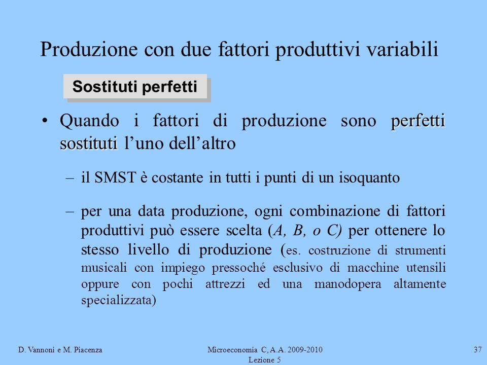 D. Vannoni e M. PiacenzaMicroeconomia C, A.A. 2009-2010 Lezione 5 37 Produzione con due fattori produttivi variabili perfetti sostitutiQuando i fattor