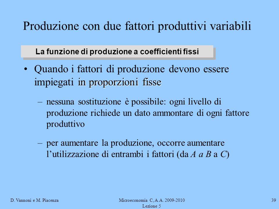 D. Vannoni e M. PiacenzaMicroeconomia C, A.A. 2009-2010 Lezione 5 39 Produzione con due fattori produttivi variabili in proporzioni fisseQuando i fatt