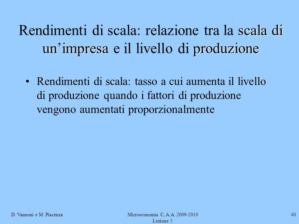 D. Vannoni e M. PiacenzaMicroeconomia C, A.A. 2009-2010 Lezione 5 40 scala di unimpresaproduzione Rendimenti di scala: relazione tra la scala di unimp
