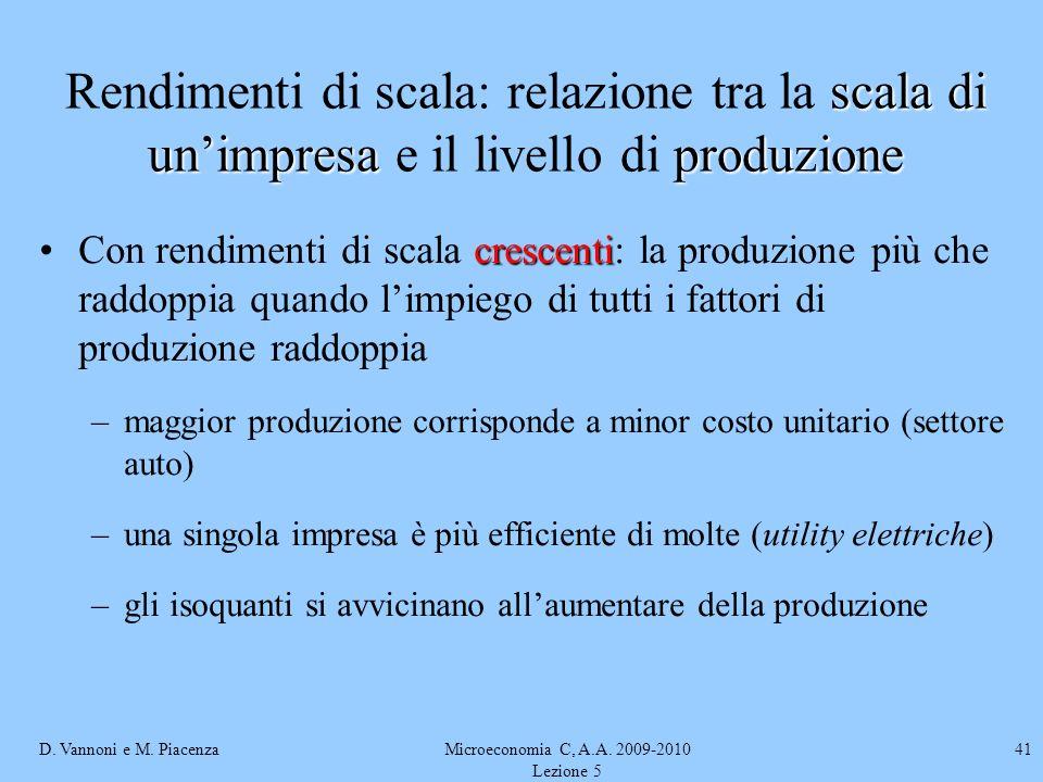 D. Vannoni e M. PiacenzaMicroeconomia C, A.A. 2009-2010 Lezione 5 41 crescentiCon rendimenti di scala crescenti: la produzione più che raddoppia quand