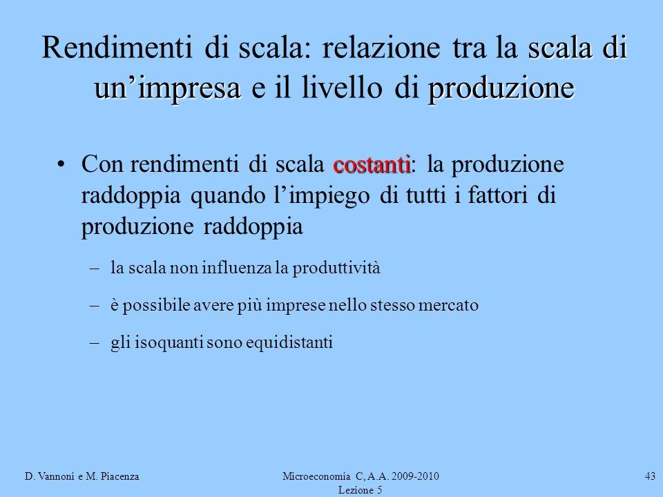 D. Vannoni e M. PiacenzaMicroeconomia C, A.A. 2009-2010 Lezione 5 43 costantiCon rendimenti di scala costanti: la produzione raddoppia quando limpiego