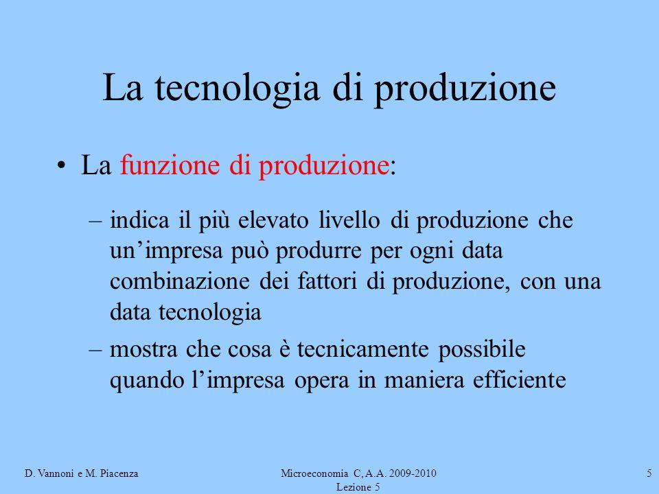 D. Vannoni e M. PiacenzaMicroeconomia C, A.A. 2009-2010 Lezione 5 5 La tecnologia di produzione La funzione di produzione: –indica il più elevato live