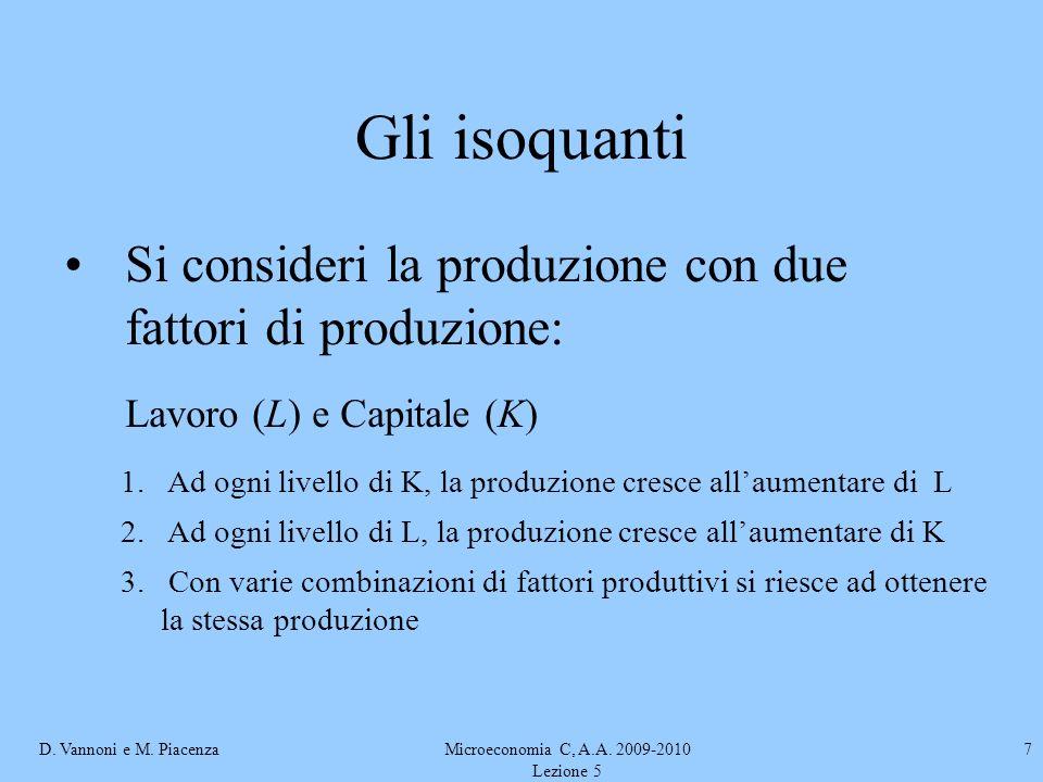 D. Vannoni e M. PiacenzaMicroeconomia C, A.A. 2009-2010 Lezione 5 7 Gli isoquanti Si consideri la produzione con due fattori di produzione: Lavoro (L)