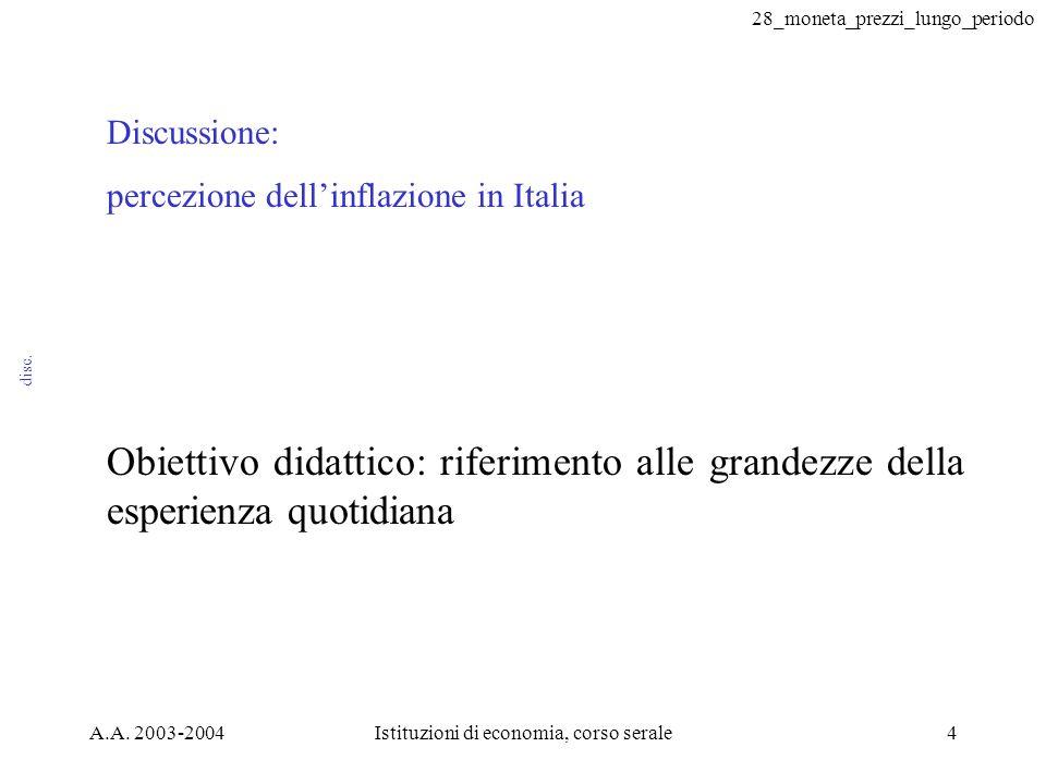 28_moneta_prezzi_lungo_periodo A.A. 2003-2004Istituzioni di economia, corso serale4 disc.