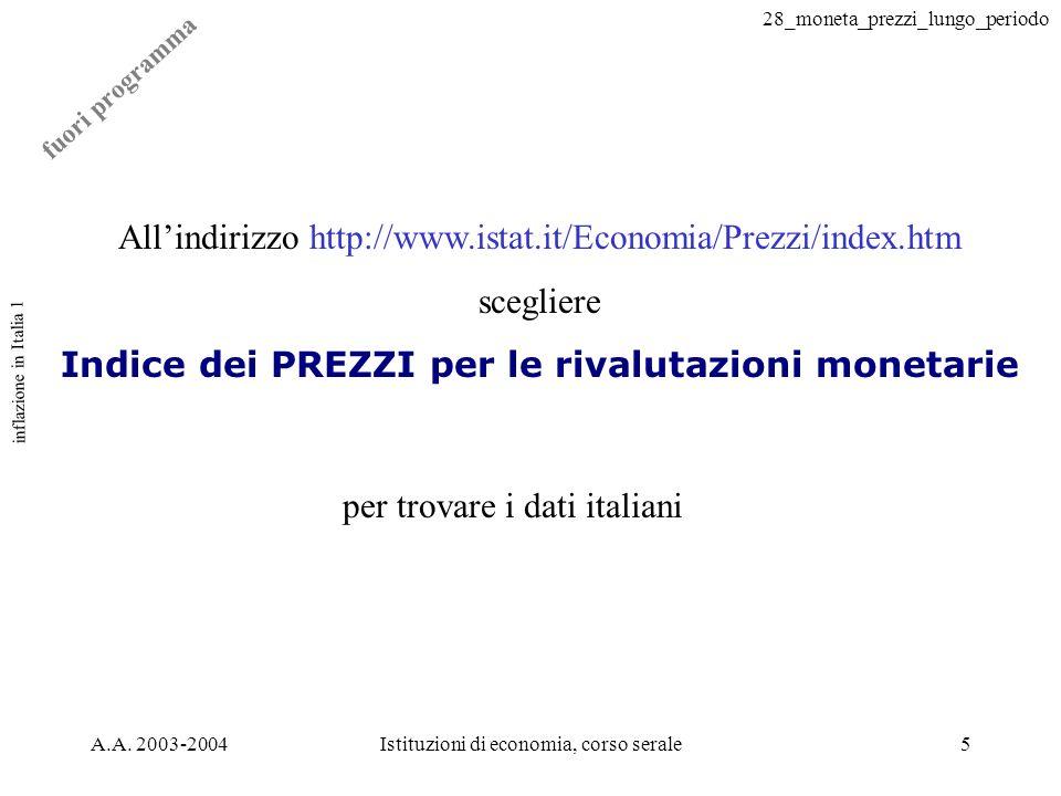 28_moneta_prezzi_lungo_periodo A.A.2003-2004Istituzioni di economia, corso serale16 disc.