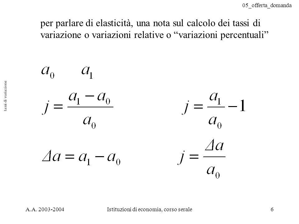05_offerta_domanda A.A. 2003-2004Istituzioni di economia, corso serale7 casi