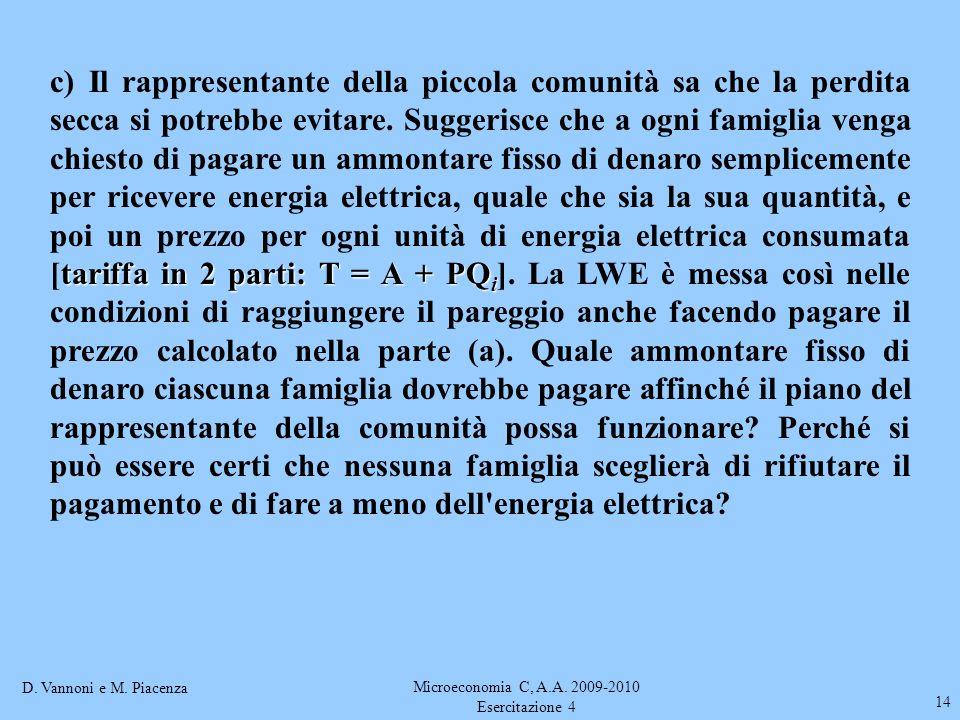 D. Vannoni e M. Piacenza Microeconomia C, A.A. 2009-2010 Esercitazione 4 14 tariffa in 2 parti: T = A + PQ i c) Il rappresentante della piccola comuni