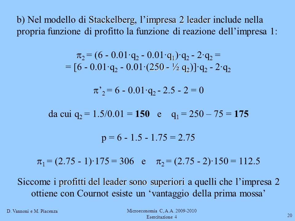 D. Vannoni e M. Piacenza Microeconomia C, A.A. 2009-2010 Esercitazione 4 20 Stackelbergimpresa 2 leader b) Nel modello di Stackelberg, limpresa 2 lead