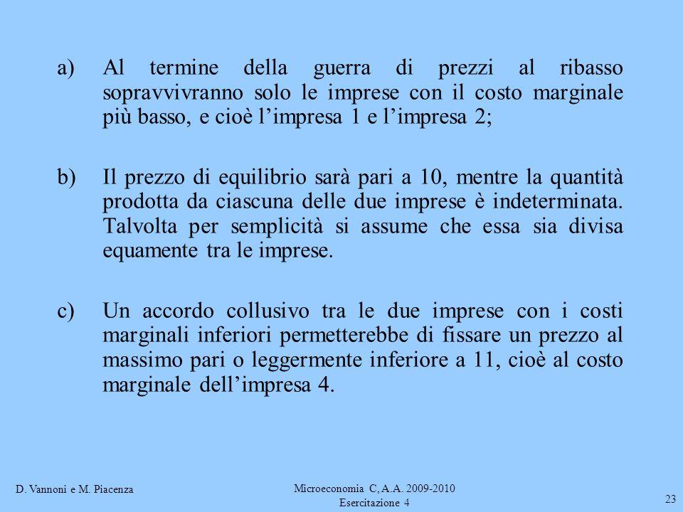 D. Vannoni e M. Piacenza Microeconomia C, A.A. 2009-2010 Esercitazione 4 23 a)Al termine della guerra di prezzi al ribasso sopravvivranno solo le impr