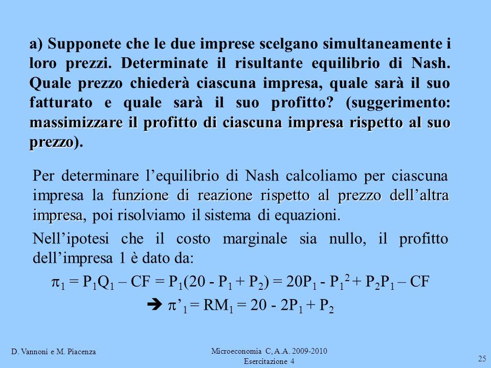 D. Vannoni e M. Piacenza Microeconomia C, A.A. 2009-2010 Esercitazione 4 25 massimizzare il profitto di ciascuna impresa rispetto al suo prezzo a) Sup