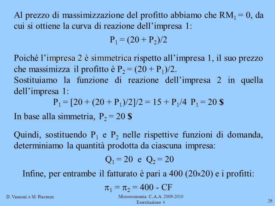 D. Vannoni e M. Piacenza Microeconomia C, A.A. 2009-2010 Esercitazione 4 26 Al prezzo di massimizzazione del profitto abbiamo che RM 1 = 0, da cui si