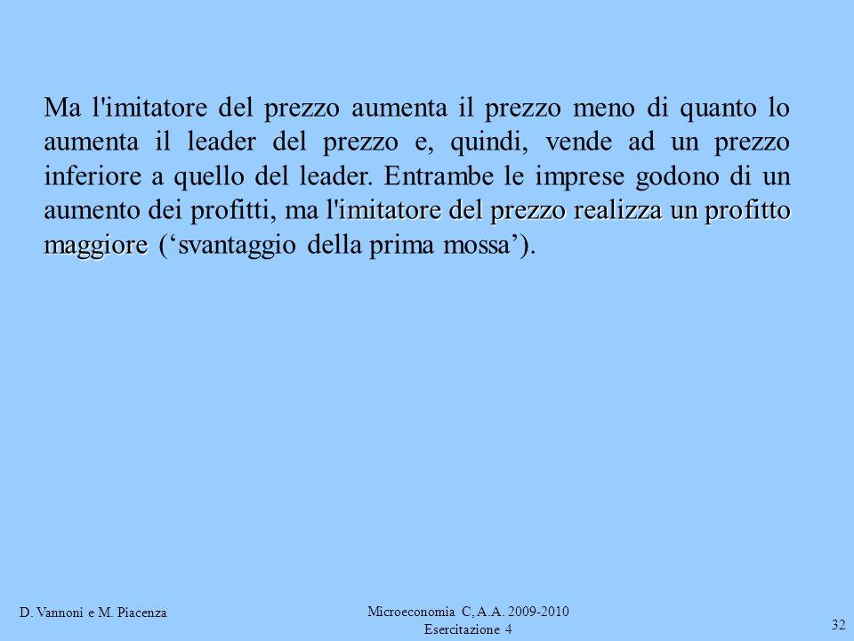 D. Vannoni e M. Piacenza Microeconomia C, A.A. 2009-2010 Esercitazione 4 32 imitatore del prezzo realizza un profitto maggiore Ma l'imitatore del prez