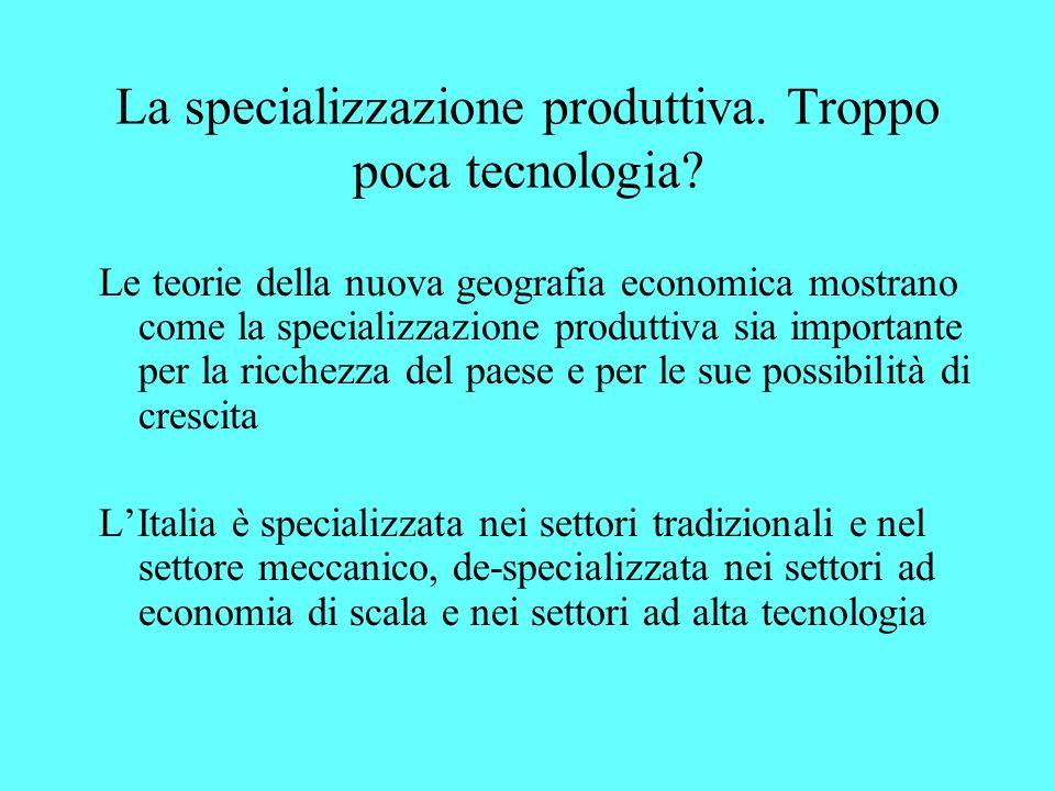 La specializzazione produttiva. Troppo poca tecnologia.