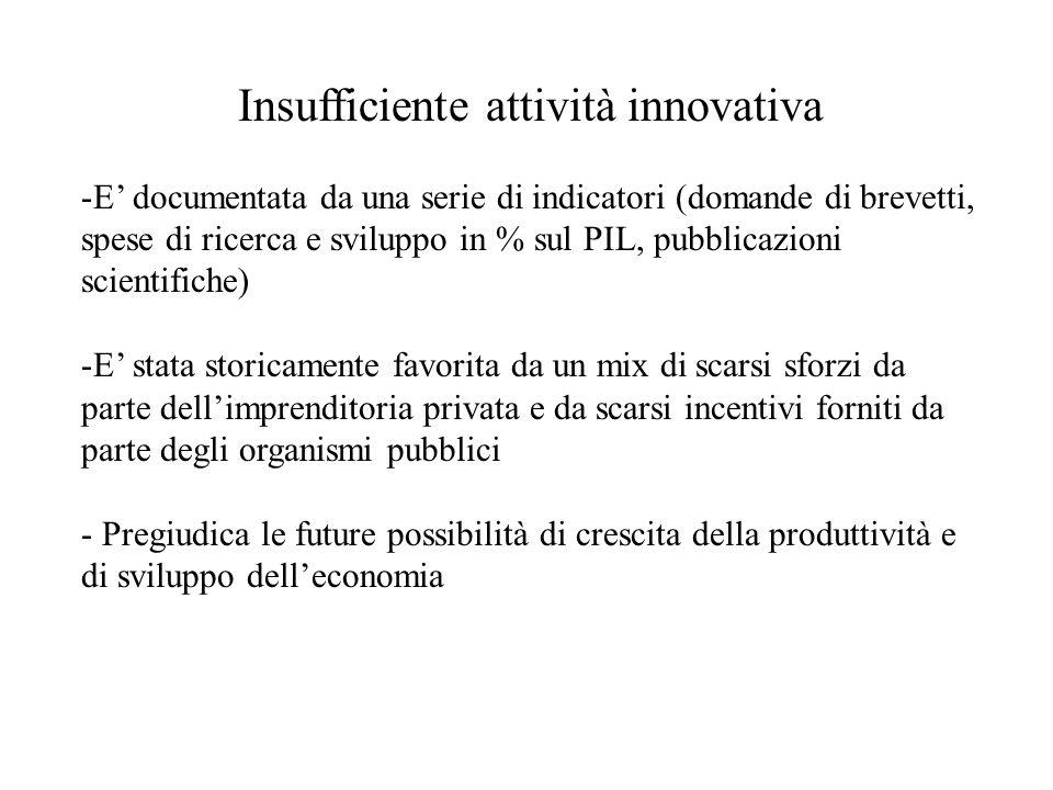 Insufficiente attività innovativa -E documentata da una serie di indicatori (domande di brevetti, spese di ricerca e sviluppo in % sul PIL, pubblicazioni scientifiche) -E stata storicamente favorita da un mix di scarsi sforzi da parte dellimprenditoria privata e da scarsi incentivi forniti da parte degli organismi pubblici - Pregiudica le future possibilità di crescita della produttività e di sviluppo delleconomia