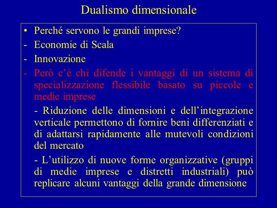 Dualismo dimensionale Perché servono le grandi imprese.