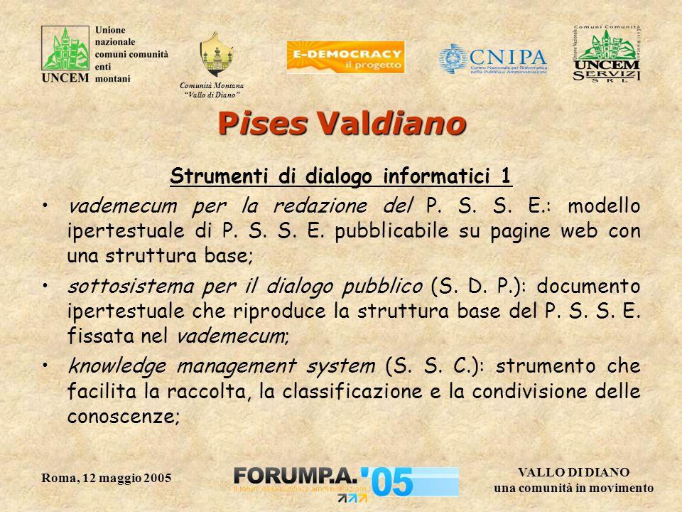 Comunità Montana Vallo di Diano VALLO DI DIANO una comunità in movimento Roma, 12 maggio 2005 Strumenti di dialogo informatici 1 vademecum per la redazione del P.