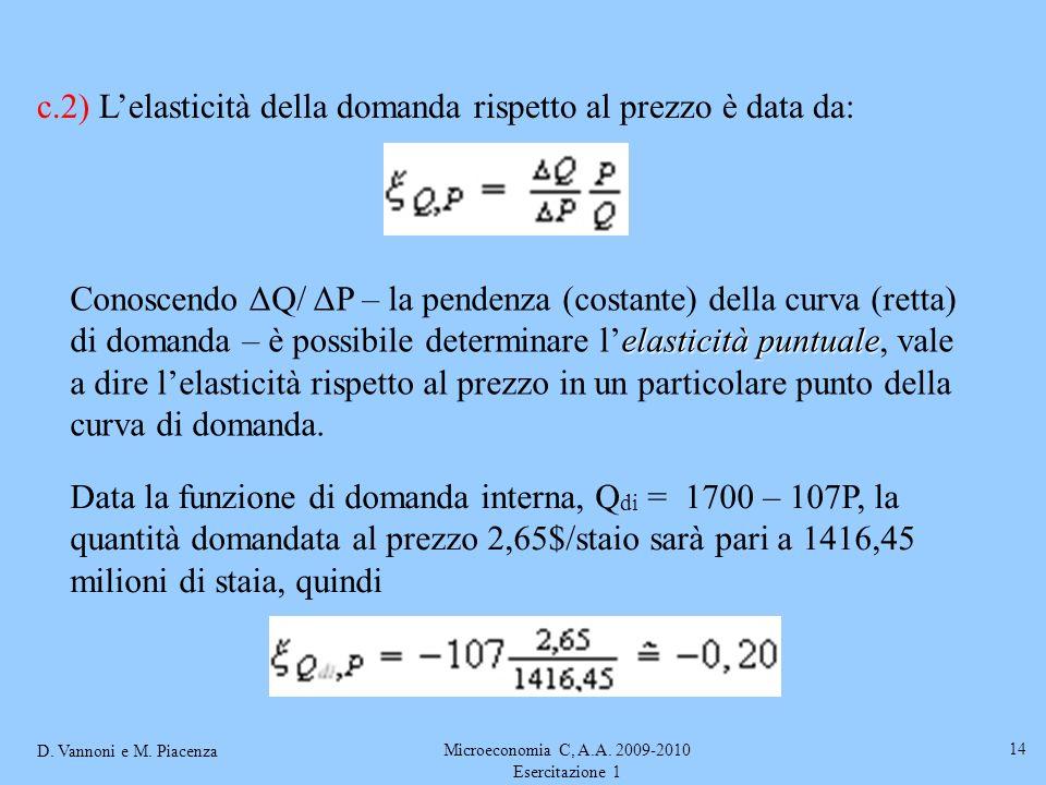 D. Vannoni e M. Piacenza Microeconomia C, A.A. 2009-2010 Esercitazione 1 14 c.2) Lelasticità della domanda rispetto al prezzo è data da: elasticità pu