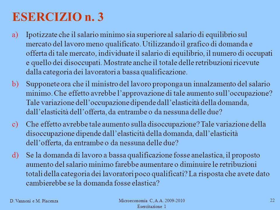 D. Vannoni e M. Piacenza Microeconomia C, A.A. 2009-2010 Esercitazione 1 22 ESERCIZIO n. 3 a)Ipotizzate che il salario minimo sia superiore al salario