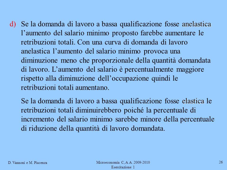 D. Vannoni e M. Piacenza Microeconomia C, A.A. 2009-2010 Esercitazione 1 26 anelastica d)Se la domanda di lavoro a bassa qualificazione fosse anelasti