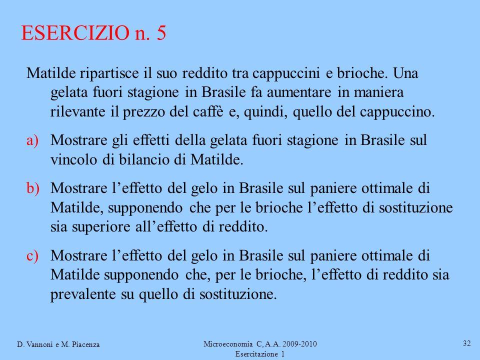 D. Vannoni e M. Piacenza Microeconomia C, A.A. 2009-2010 Esercitazione 1 32 Matilde ripartisce il suo reddito tra cappuccini e brioche. Una gelata fuo
